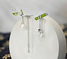 Earrings Green Bamboo With Pearl Retro Dangle Earrings Jewelry Gift For Women