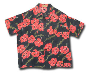 XL 1950s BLACK BACKGROUND Rosenblatt's RAYON Vintage Aloha Shirt floral Hawaiian
