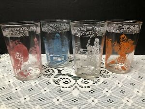 CUTE VINTAGE 1953 WELCH'S HOWDY DOODY & FRIENDS Jelly Jar Glasses LOT OF 4!