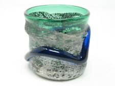 Silver & Emerald Green Ryukyu Rocks Glass (Handmade in Okinawa)