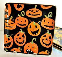 "4x Halloween Jack-O-Lantern Orange Pumpkins Black Salad Plates Stoneware 9"""
