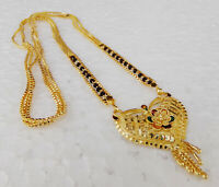Ethnic Dulhan Fashion Jewelry Indian Gold Plated Chain Necklace Long Mangalsutra