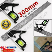 "300MM RIGHT ANGLE RULER ADJUSTABLE ENGINEERS COMBINATION TRY SQUARE SET 12"" UK"