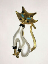 1960s  SIAMESE CAT BROOCH: Turquoise Eyes / White Body / J.J. JONETTE    (5E30)