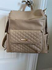 Luli Bebe Petite Monaco Diaper Bag Backpack w Stroller Loop Strap Latte Tan New