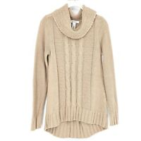 White House Black Market Sweater Aran Cable Fisherman Beige Tan Brown Cowl Neck