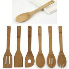 6pc bambou Ustensile de cuisine en bois Outil cuillère Spatule Mixing BK2X