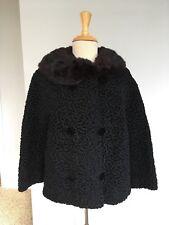 Vintage Womens Sz S/M Persian Curly Lamb Wool Coat, Fur Collar, Lined, Black