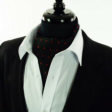 Black with Red Polka Dot Design - Silk Cravat Scarves 'Ascot Tie' Wedding - A18