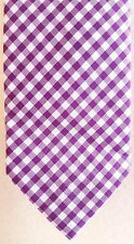 THE Tie BAR Gingham PURPLE Necktie CHECKED White MENS Neck TIE Cotton SLIM Man**