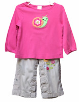 Gymboree Baby Gap Size 18-24 Months Pink Snail Shirt Tan Snap Up Embroidery Pant