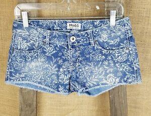 Mudd Juniors 3 denim shorties shorts floral fray trim