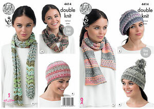 King Cole 4414 Easy Knit Knitting Pattern Hat, Scarfs and Snood in Drifter DK
