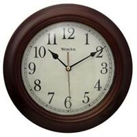 "Westclox Realistic Wood Grain Wall Clock, 10"""