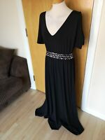 Ladies Dress Size 14 Black Long Maxi Beaded Stretch Cold Shoulder Party Evening