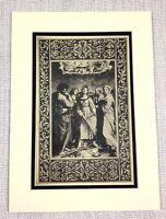 1927 Antico Stampa Italiano Vecchio Master Pittura San St.Cecilia Religioso Art