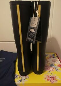 Joules Womens Roll Up Wellies in French Navy. Adult 8. BNIB. With storage bag.