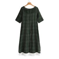 US Autumn Womens Loose Short Sleeve Linen Dress Kaftan Soild Top Long Maxi Dress