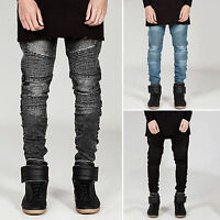 Men Stylish Pants Jeans Slim Fit Stretchy Destroyed Ripped Denim Skinny Trousers