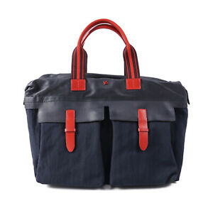 ISAIA Navy Blue Coated Canvas and Leather Briefcase NWT Bag