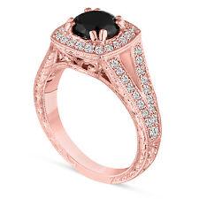 Fancy Enhanced Black Diamond Engagement Ring Hand Engraved 1.60 Ct 14K Rose Gold