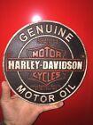 "Harley Davidson Motorcycles Garage Cast Iron Sign 9"" Patina Indian Triumph Vg"