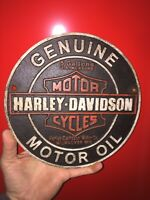 "Harley Davidson Motorcycles Garage Cast Iron Sign 9"" Patina Indian Triumph Vg"
