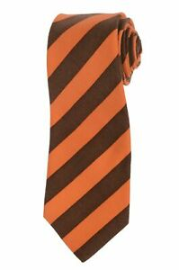 KITON Napoli Hand-Made Seven Fold Brown-Orange Striped Cashmere Tie NEW