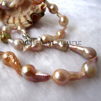 "18"" 10-12mm Peach Pink Lavender Drop AA Kasumi Freshwater Pearl Necklace L U"