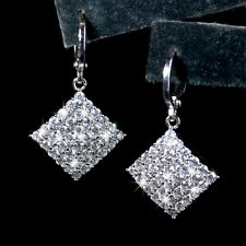 18k white gold made with SWAROVSKI crystal drop dangle curved square earrings