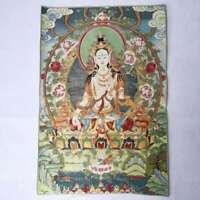 "36"" Tibet Tibetan Cloth Silk White Tara Guanyin Kwan-yin Tangka Thangka Mural #5"