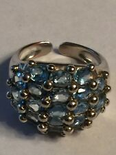 STUNNING 925 Sterling Silver 5.25 CT Blue Topaz Cluster Ring Sz 5.5  Signed ALX
