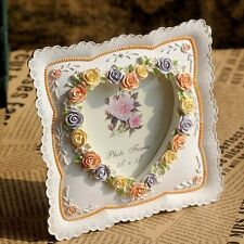 Retro Vintage Rose Flower Heart Home Decor Photo Frame Picture Resin 3.5''