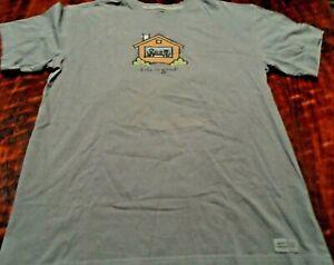 Life Is Good t-shirt Men's MEDIUM blue tee Nestle 100% cotton