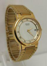 Vintage 1990 Seiko 5Y39-7140 Gold Plated Quartz Date Gents Dress Wrist Watch