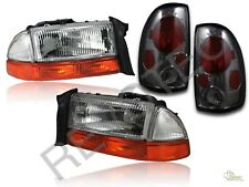 97-04 Dodge Dakota Chrome Headlights + Bumper Signal + Smoke Tail Lights Lamps