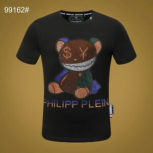 PHILIPP PLEIN Black Bear Beading Men Casual T-shirt #P99162 M-3XL