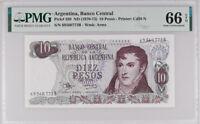 Argentina 10 Pesos 1970-73 P 289 GEM UNC PMG 66 EPQ