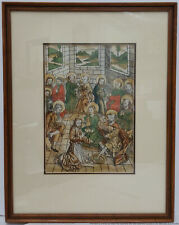 Orig 1491 Hand Colored Schatzbehalter Woodcut Incunable Koberger Nuremberg Leaf