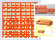 IKEA Karlstad 3 Seat Sofa Ottoman Cover Husie ORANGE Plaid Houndstooth Footstool