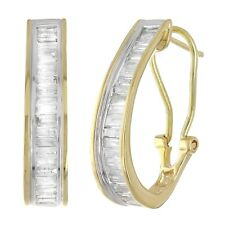 14k Yellow Gold 1ctw Diamond Baguette Oblong Hoop Earrings