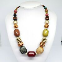 Oversized Lucite & Wood Bead Statement Necklace Fashion Chunky Chic Jewelry 💖