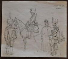 L. Rousselot Etude originale planche n°98 L'Armée Française Guides G.I 1854-70