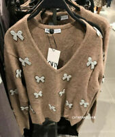 BNWT ZARA CAMEL SWEATER JUMPER WITH FAUX PEARL BOW APPLIQUES SIZE M