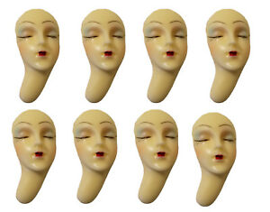 Lot of 8 Closed Eyes Poly Porcelain Face Head for Craft Jewelry Cameo Brooch VTG