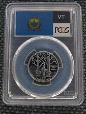 2001-S 25c Vermont SILVER State Flag Label Quarter Proof Coin PCGS PR70DCAM