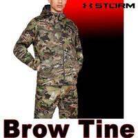 MEN UNDER ARMOUR UA BROW TINE JACKET CAMO QUIET STORM HOODIE 1316741-940 XL 2XL