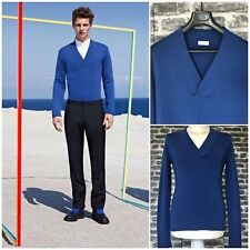 UltraRare&Great Dior Homme SS14 V Neck Blue Stretchable Virgin Wool Sweater
