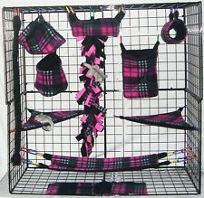 Pink and Black Plaid*15 PC Sugar Glider Cage set * Rat * double layer Fleece