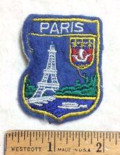 Vintage PARIS France Eiffel Tower Crest Souvenir Blue Felt Patch Badge